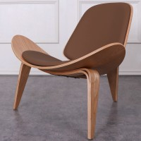 Hans Wegner style Three Legged Shell Chair in Coffee Italian Leather