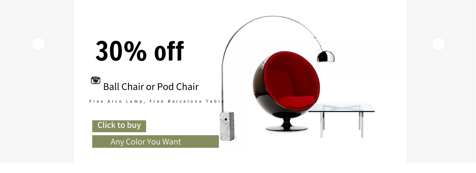 Ball chair in black shell with red fabric interior and a barcelo